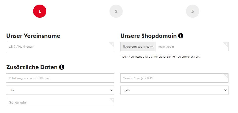 Teamshops erstellen - Shopdaten angeben