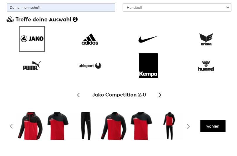 Teamshops erstellen - Marke und Kollektion wählen