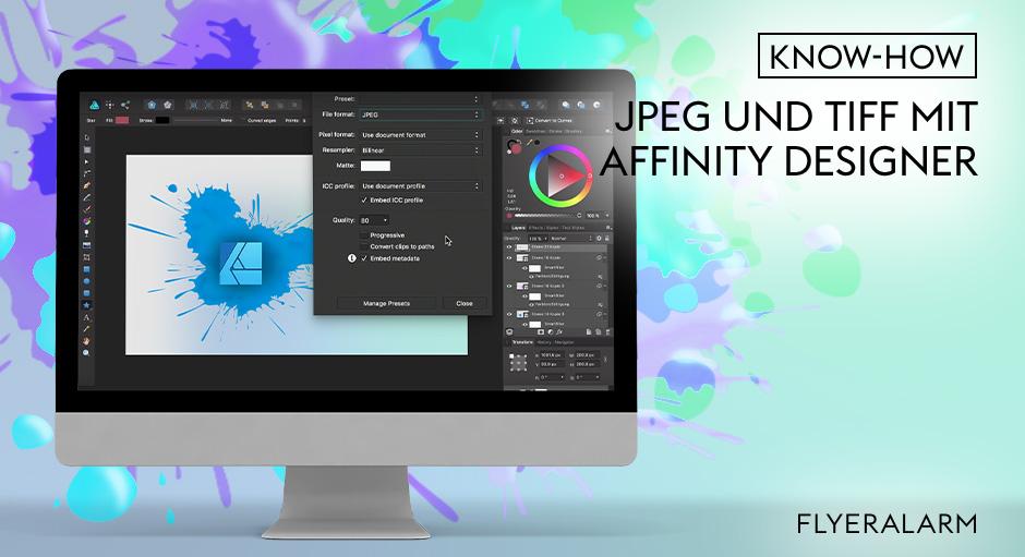 Affinity Designer Tutorial: druckfähige JPEGs und TIFFs erstellen