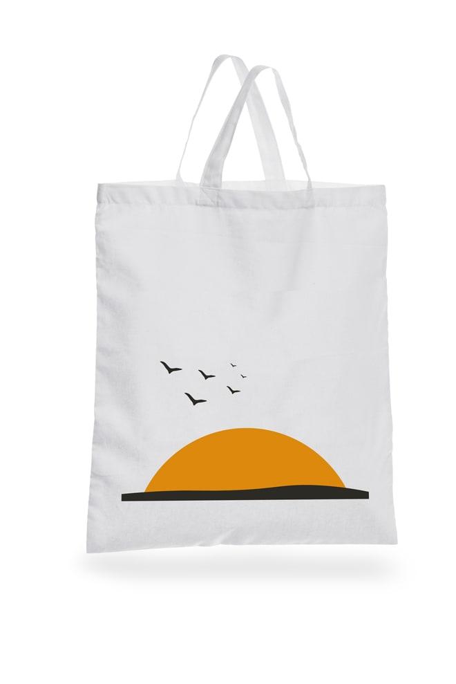 Flyeralarm Baumwolltaschen Basic Sonnenuntergang mit Vögeln