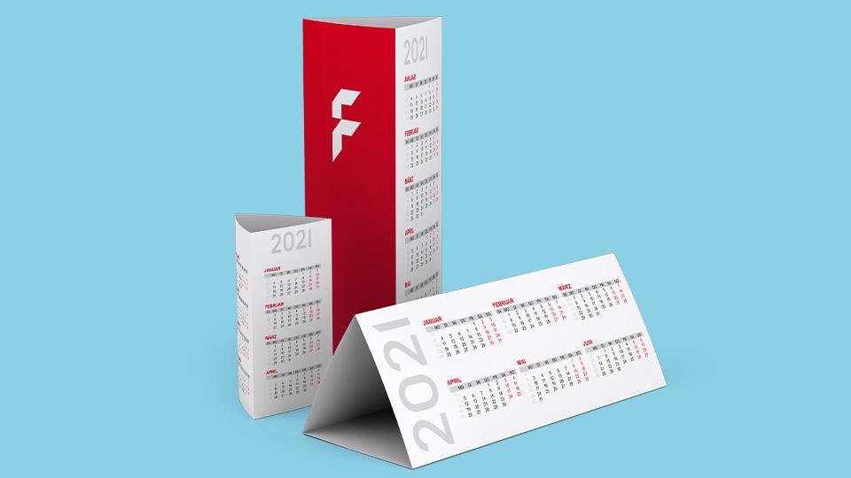Kalendervorlagen für Aufsteller Prisma
