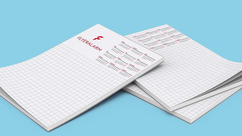Kalendervorlagen für Block mit Leimbindung