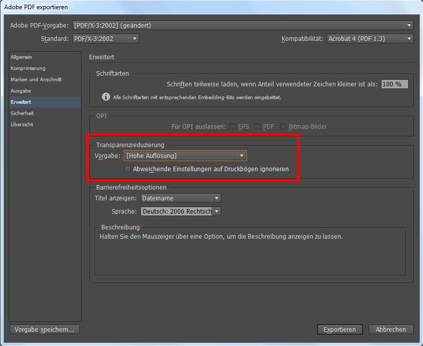 InDesign PDF exportieren