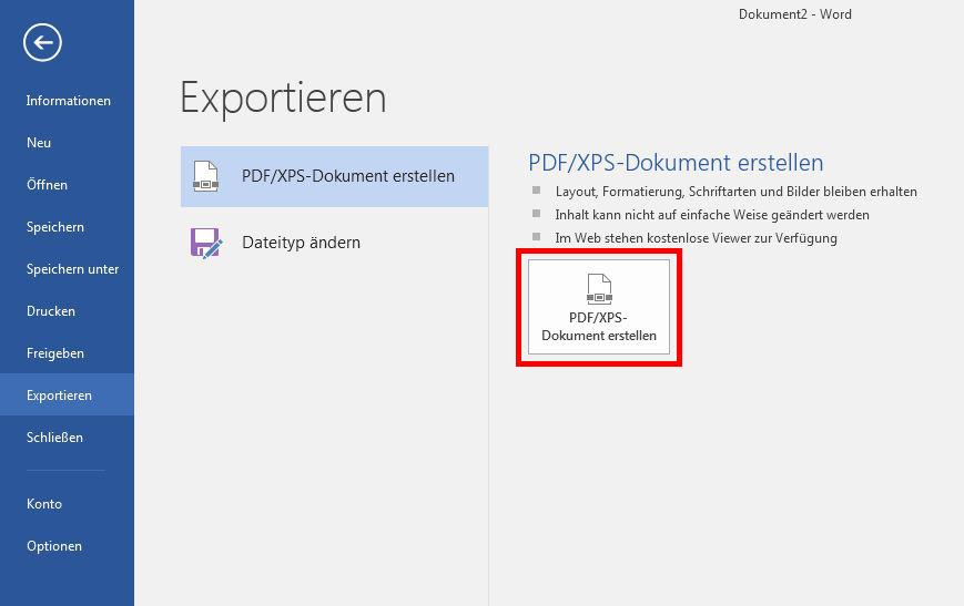 Erstellen einer PDF: Word 2016 PDF erstellen