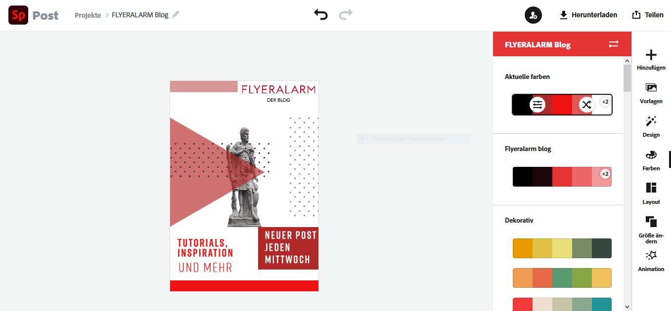 Adobe Spark Nutzeroberfläche