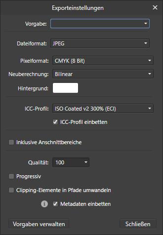 Affinity Photo JPEG Exporteinstellungen