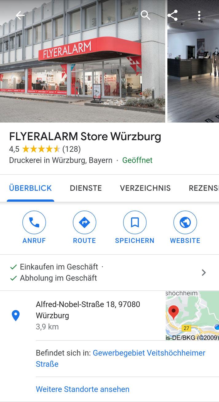 Google My Business Eintrag von FLYERALARM