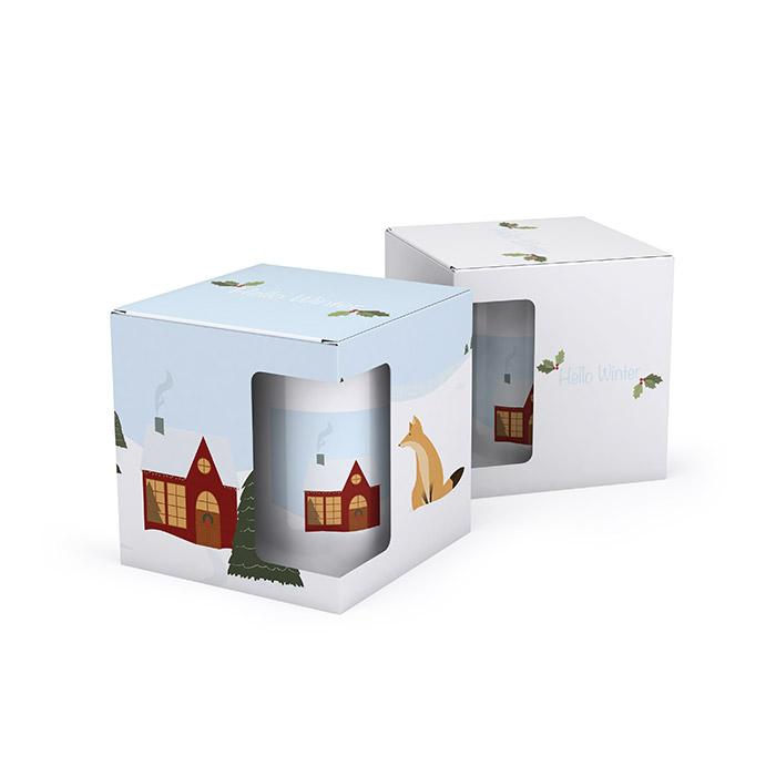 Tassenverpackungen mit weihnachtlichen Motiven