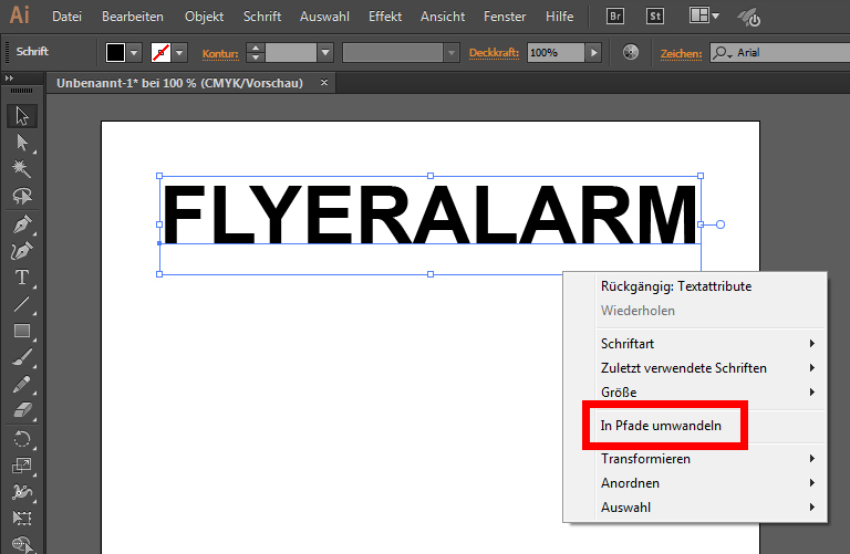 Tutorial: Text in Pfade umwandeln - Flyeralarm - DE
