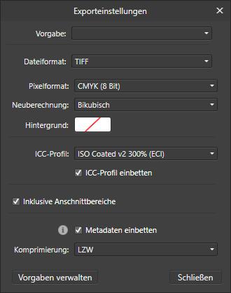 Mit Affinity Publisher JPEG und TIFF exportieren