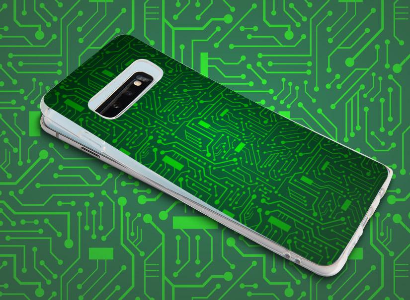 Smartphonehülle mit stilisierter Platine oder Schaltkreis