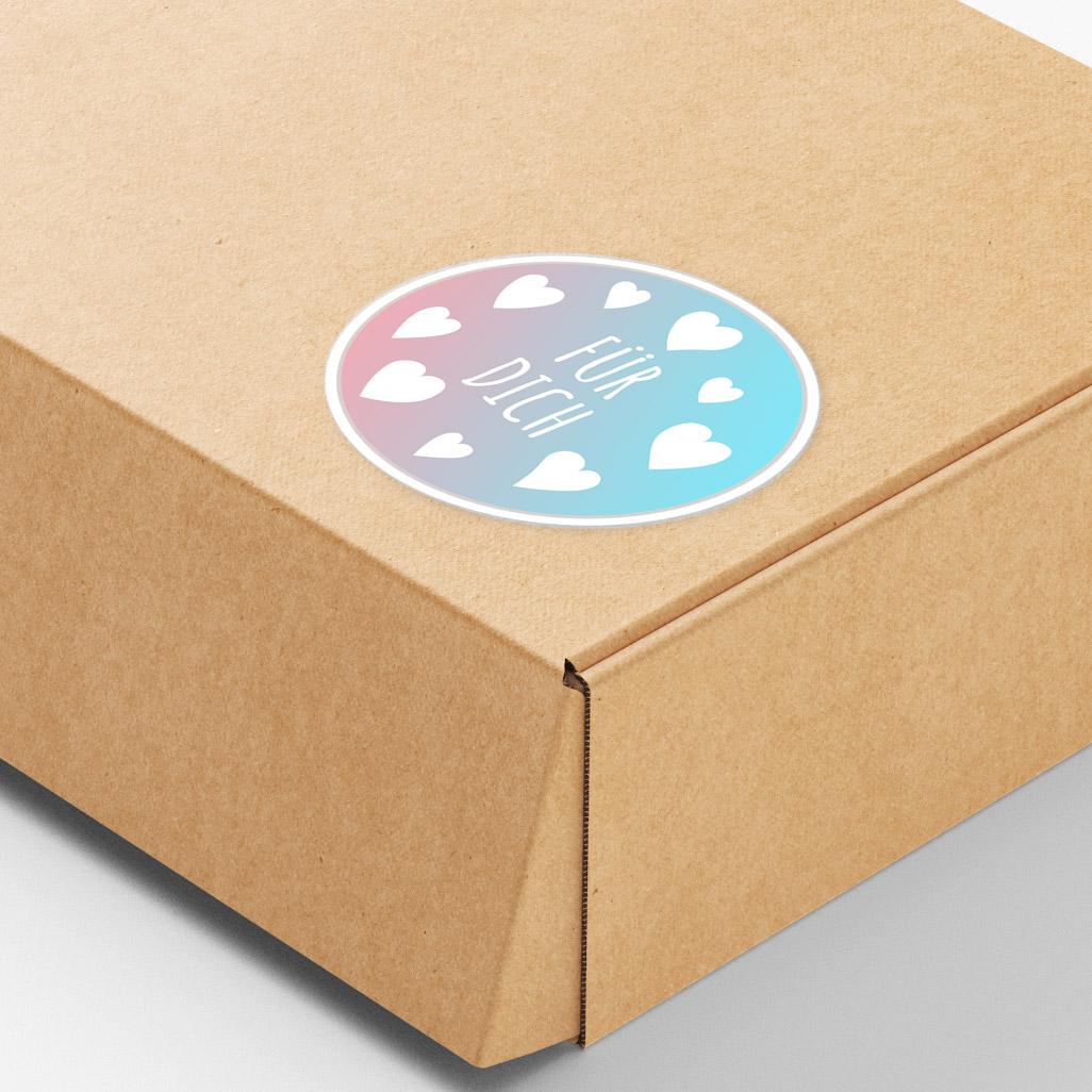 Verpackungsaufkleber mit Grußworten