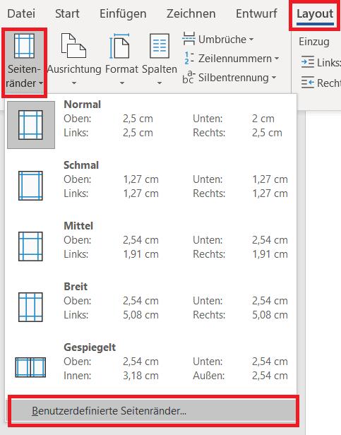 Benutzerdefinierte Seitenränder einstellen Word Screenshot