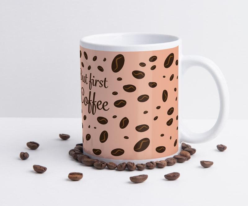 Layoutvorlage für Tassen: Kaffeebohnen