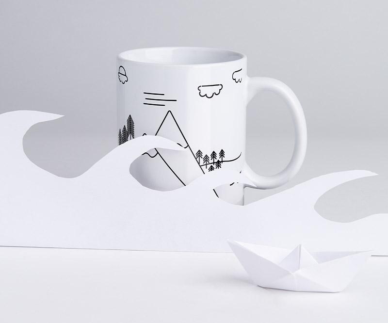 Layoutvorlage für Tassen: Berg