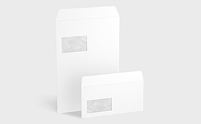 Unprinted envelopes with window on left, peel and seal