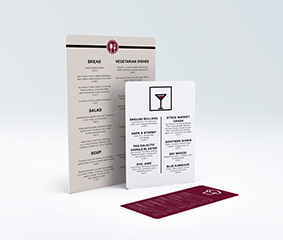Cartes de menu en mousse rigide