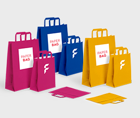 Basic paper bags with flat handle, coloured