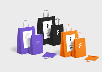 Basic paper bags with twisted cord handles, coloured