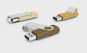 USB sticks – wooden with aluminium swing clip