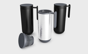 Sample travel mug with handle