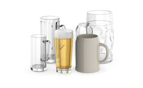 Sample beer steins and beer glasses