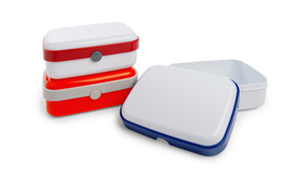 Sample lunchbox met drukknop