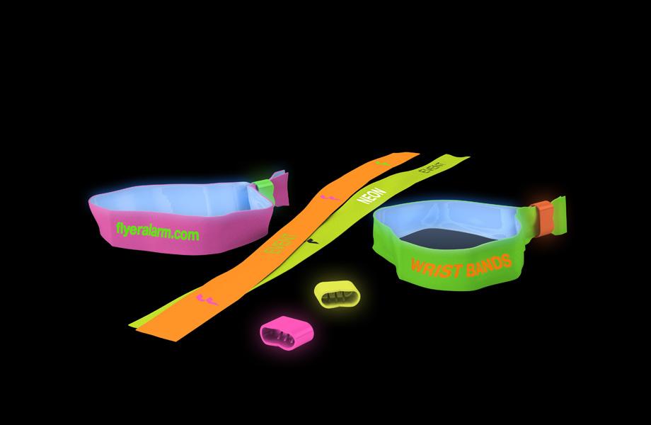 46d3c634d6f5 Pulseras identificativas de tela en colores fluorescentes en FLYERALARM