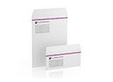 Printed envelopes with window, peal and seal