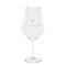 Modern red wine glass, etched white