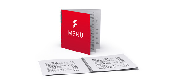 Menu cards with wire-o-binding