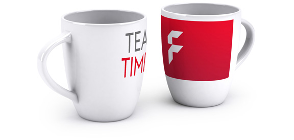 Promotional mugs, conical