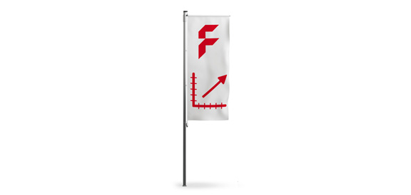 Custom sized hoisting flags for poles with side-arm
