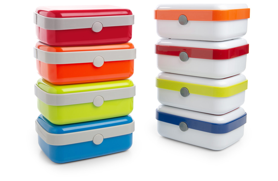 Lunch box in plastica, con chiusura a pressione