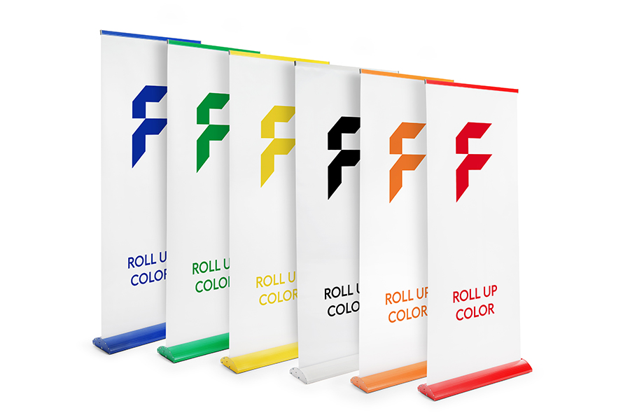 Roll-up banners colour, systeem incl. bedrukking