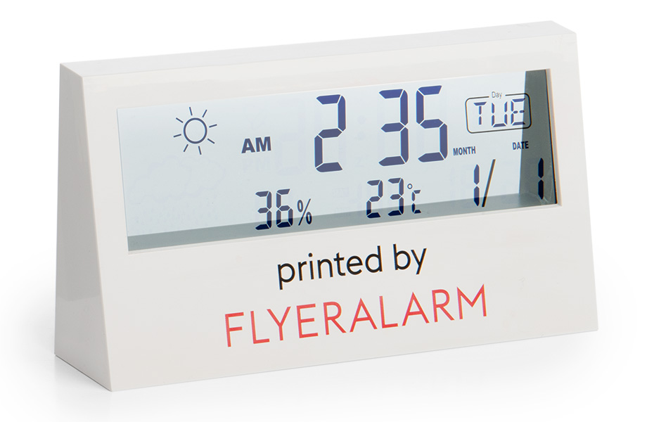 Digital room thermometers with transparent display