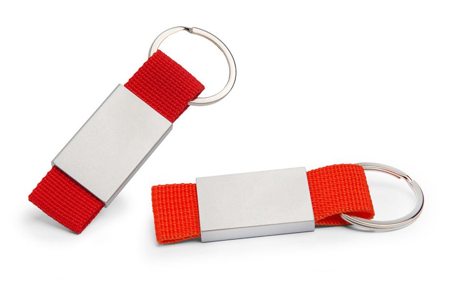 Sample fabric key ring with metal plate