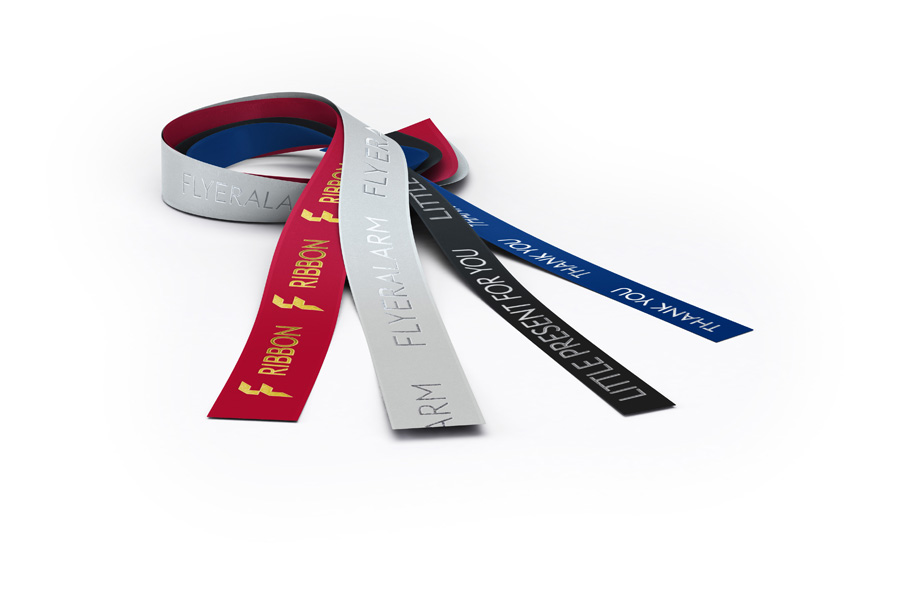 Coloured gift ribbon with hot foil