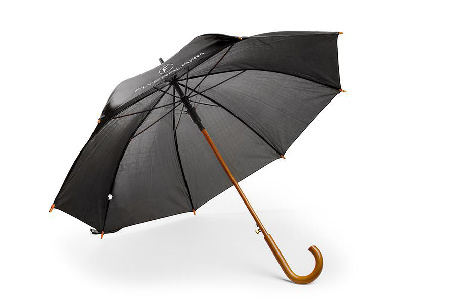 Umbrella with curved wooden handle