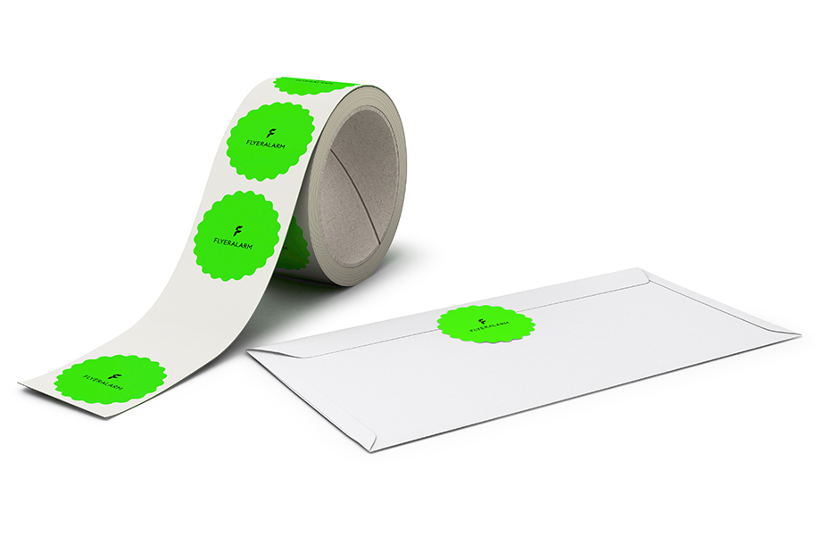 Custom-shaped labels on a roll