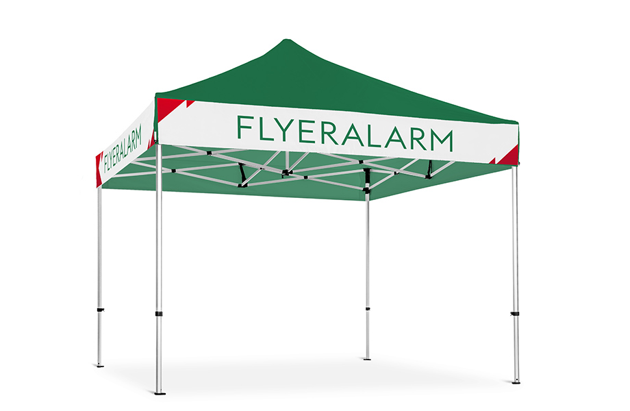 Gazebos with interchangeable banners, mechanism and print