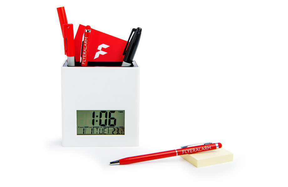 Sample desk tidy with digital display