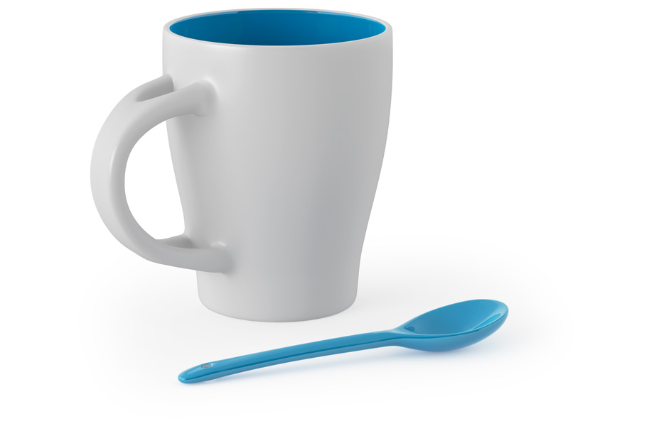 Sample mug with a spoon