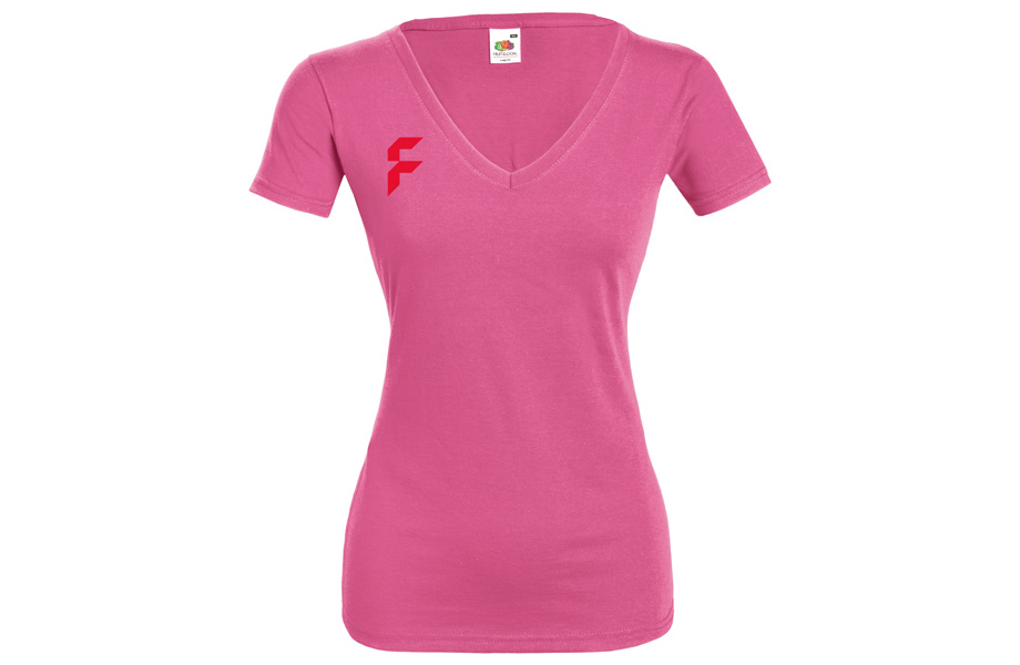 T-shirt Basic dames v-hals
