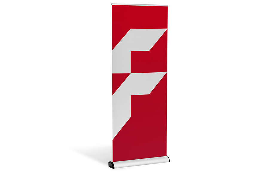 Roller banners with changeable casing, mechanism and print