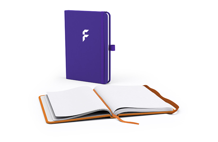 Sample notebook with faux leather cover