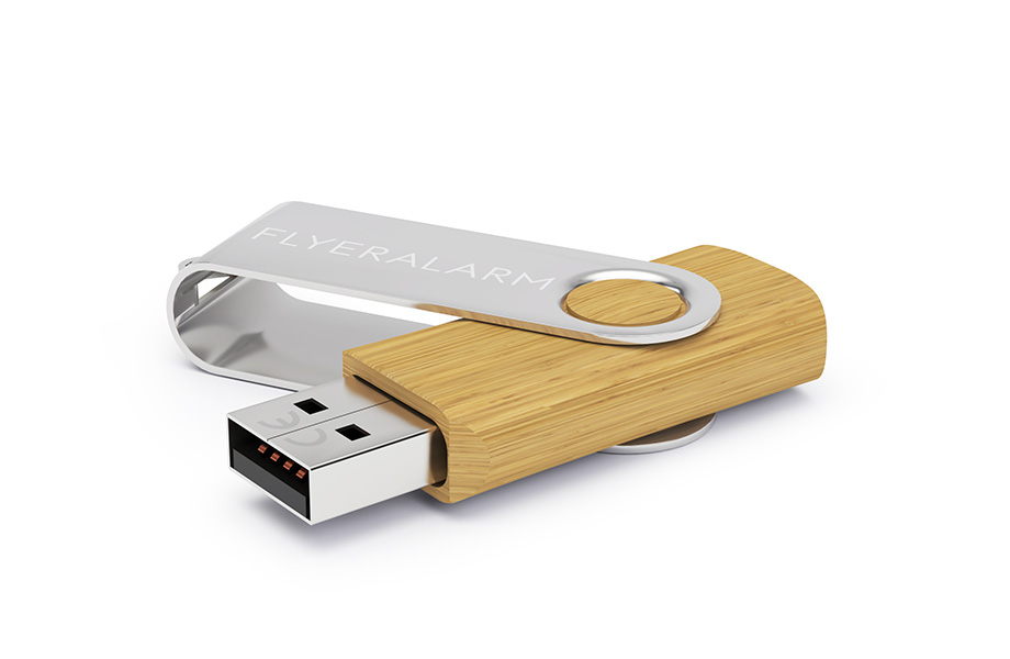 Usb-sticks hout met metalen beugel