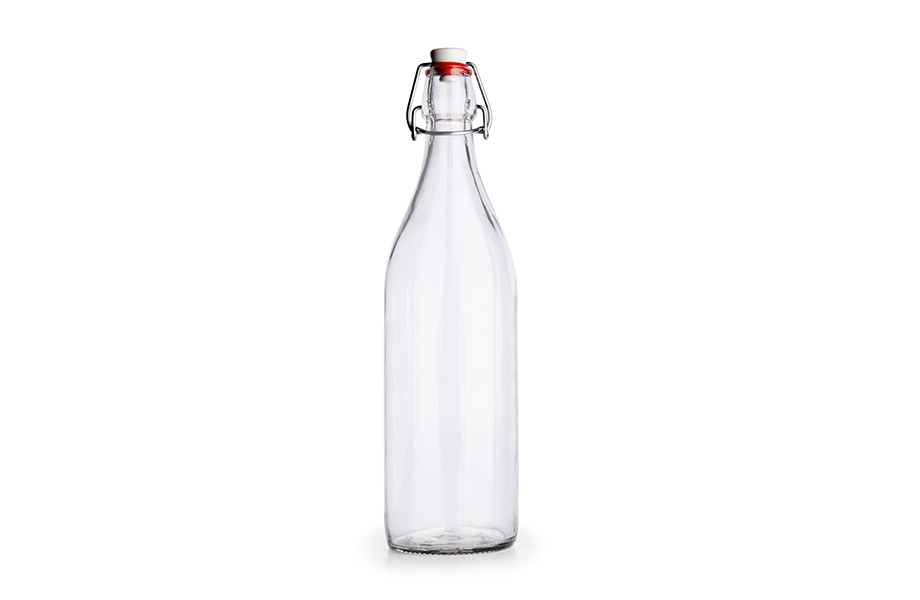 Glass bottles with swing stopper