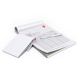 NCR duplicate set, as a pad with a sheet divider