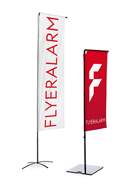 Square flags with banner arm, mechanism and print